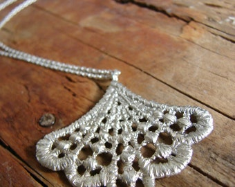 Lace Necklace Filigree Silver Pendant Romantic Jewelry Bohemian Necklace Gifts for her Delicate jewelry