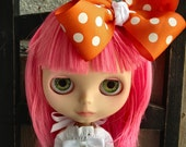 dolly molly ORANGE and white dot bow for blythe doll