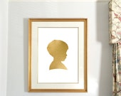 Custom Portrait from Photo, Silhouette Cameo, Gold Foil Print, kids wall art, portrait drawing, silhouette art