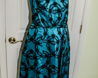 Vintage 1950s Blue Satin Black Lace Party Dress