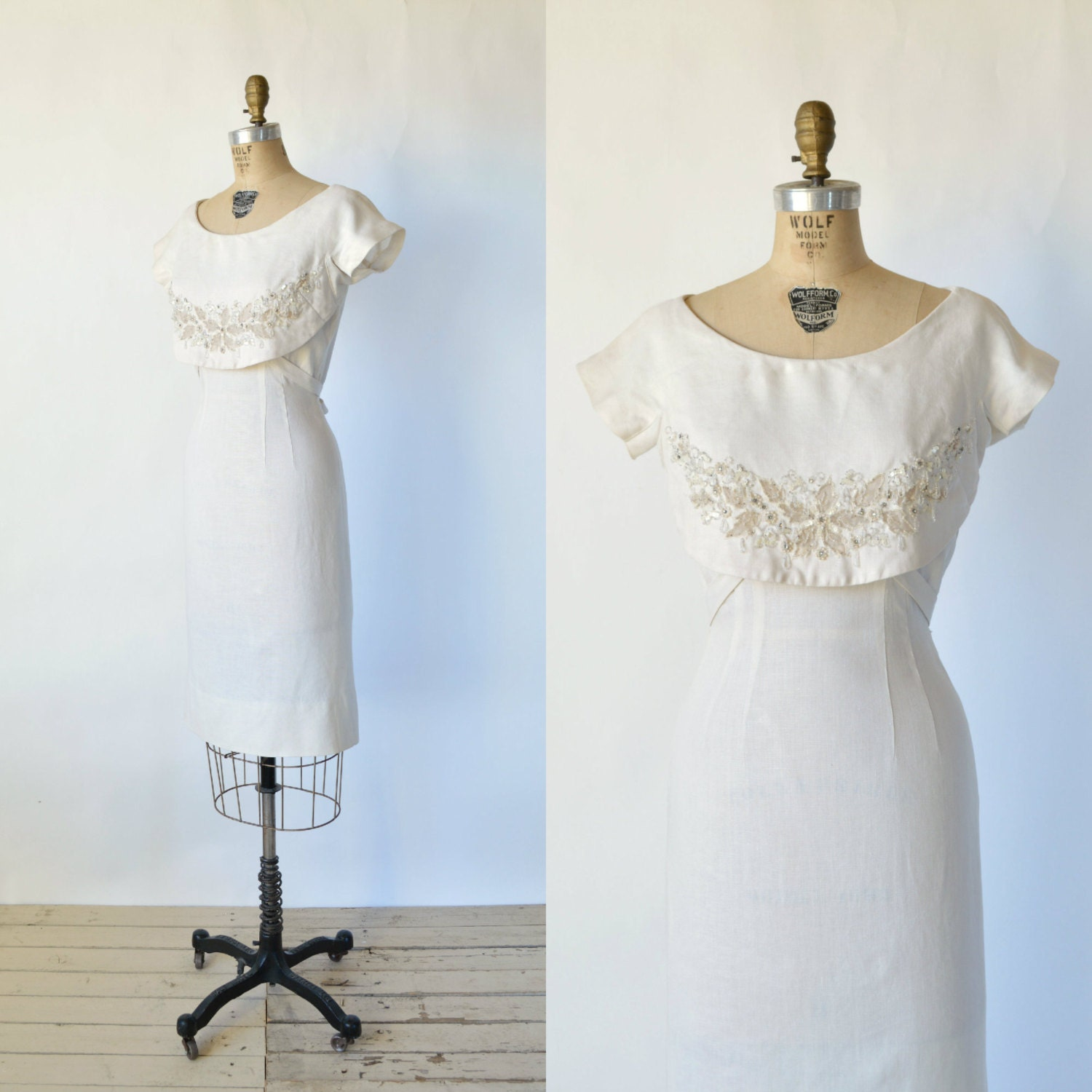 Vintage Julian Gold Dress 1960s Cream Cocktail By