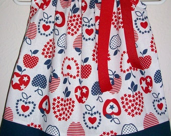 12m 4th of July Dress Patriotic Dress with Apples Pillowcase Dress Girls Dress red white and blue baby dress Patriotic Clothes Ready to Ship