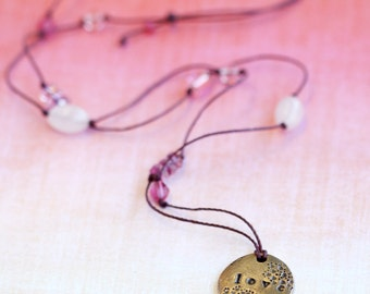love necklace with bronze pendant, amor
