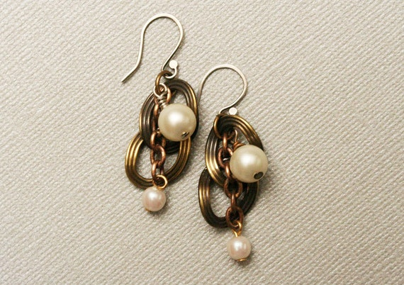 Pearl Earrings, Vintage Mixed Metal Chain Pearl Dangle Earrings