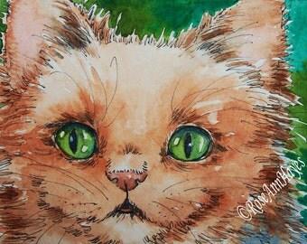 Original Watercolor Painting Persian Cat Kitten ACEO