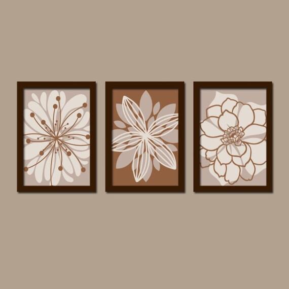 Flower Wall Art Canvas Or Print Kitchen Wall Art Bedroom: BROWN Bedroom Wall Art CANVAS Or Prints Tan Bathroom By