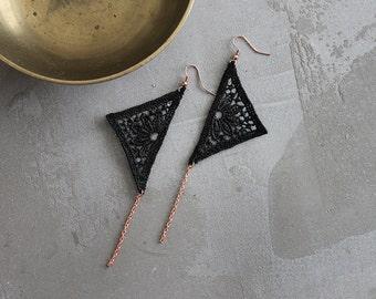black lace geometric earrings // CHARIS // long earrings / modern,  dangle earrings, statement earrings, triangle earrings, festival jewelry