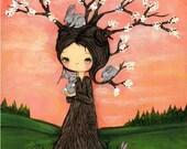 Tree Print Bunny Rabbit Art Whimsical Girl Forest Decor Wall Art ---The Bunny Tree