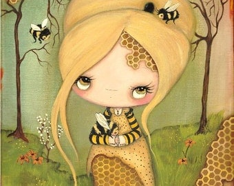 Honey Bee Print Bee Girl Art Honeycomb Forest Save The Bees Wall Decor LARGE PRINT 11 x 14