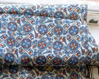 "3 yards Mod funky bird print fabric - 60s 70s - blue and brown - 44"" wide"