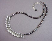 Clear Winter Crystals and Pearls Necklace, OOAK, LauraMaeJewelry, Free Shipping