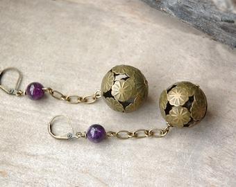 Rustic Flower Earrings - Purple Amethyst, Brass, Autumn, Nature Inspired Boho