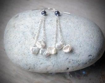 Snow Fall - Keishi Pearl Earrings, White Pearl Earrings, Elegant, Rustic, Holiday Gift