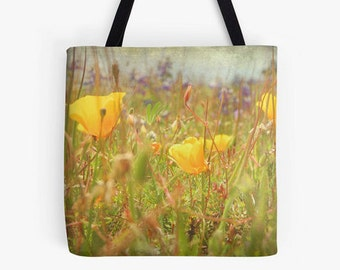 Tote Bag - Flowers, Pink Blossoms, Poppys, Dahlia, Roses, Spring Gift, Easter, Mother's Day