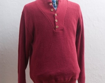 Men's Sweater / Vintage LL Bean Red Cotton Sweater / Size Medium