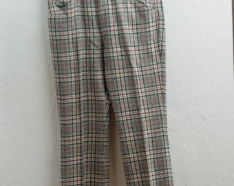 Men's Wool Slacks / 35x30 Vintage Wool Dress Pants / Flat Front