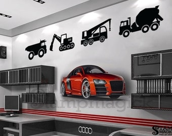 Truck Wall Decal - truck decal - construction truck decal - construction truck wall decal baby nursery - car decal - car wall decal - K156