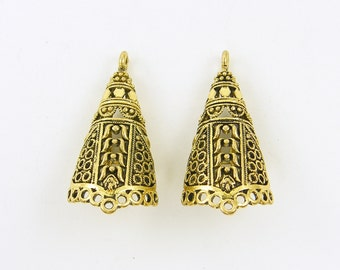 Tribal Antique Gold Earring Cone Chandelier Ornate Patterned Ethnic Jewelry Component Supply |G10-14|2