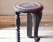 Suzani Mosaic Side Table in Black Accent Table Reclaimed Vintage Mismatched Legs Unique Table Colorful Handmade Tile Semiprecious Stones