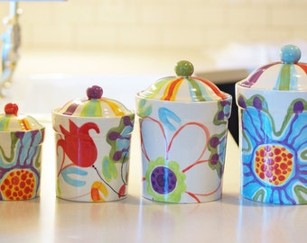 Kitchen Canister Set READY to SHIP Floral Canister Pottery Canisters Jubilation Canister Set Colorful Whimsical Pottery Happy Kitchen J