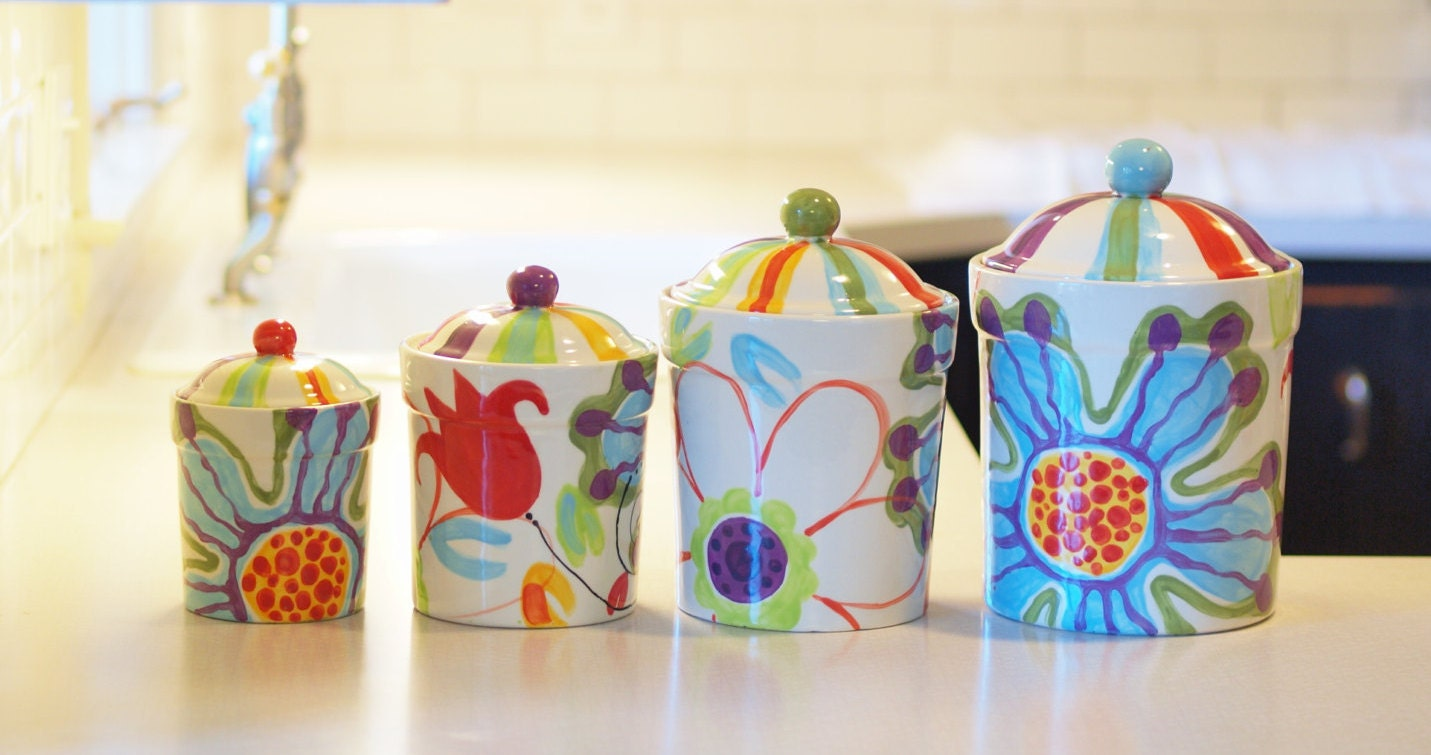kitchen canister set floral canister pottery by romyandclare