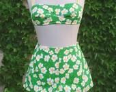 Vintage Two Piece Gabar Daisy Bikini Yellow Green