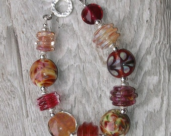 Handmade Glass Lampwork Bead Bracelet - Strawberry Peach
