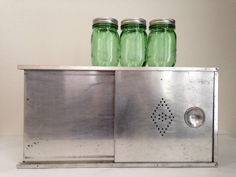 Tin bread box drawer insert -  Vintage Metal Bread Box Hoosier Style Bread Drawer Insert Zoom
