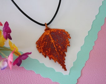 Copper Birch Leaf, Real Leaf, Birch Leaf, Leaf Necklace, Copper Leaf Necklace, LL75