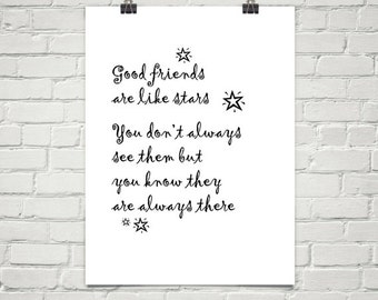 PRINTABLE GOOD FRIENDS Are Like Stars Inspirational Quote Friendship Gift Positive Typography Home Decor Heartful Art by Raphaella Vaisseau