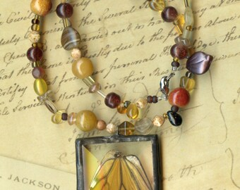 Monarch Wing Necklace with Amber Beads