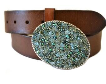 Beaded Belt Buckle - Sea Blue Green Western Cowgirl