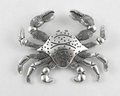 Crab X-Large Pendant Slide Charm in Antiqued Silver with two loops (see photos) - 59mm x 48mm