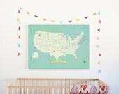 USA Wall Map, My Travels Personalized USA Wall Map Art Print, 24x18, United States, Customizable Map, Nursery Wall Art, Kid's