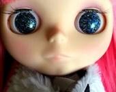 Supernova Black Holographic Resin Glitter Eye Chips for Blythe Dolls