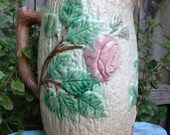 Antique Large Majolica Pitcher - Wild Rose on Tree Bark 1880
