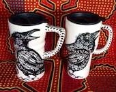 Raven Heart Ceramic Black & White Travel Mug with Sliding Closure Lid