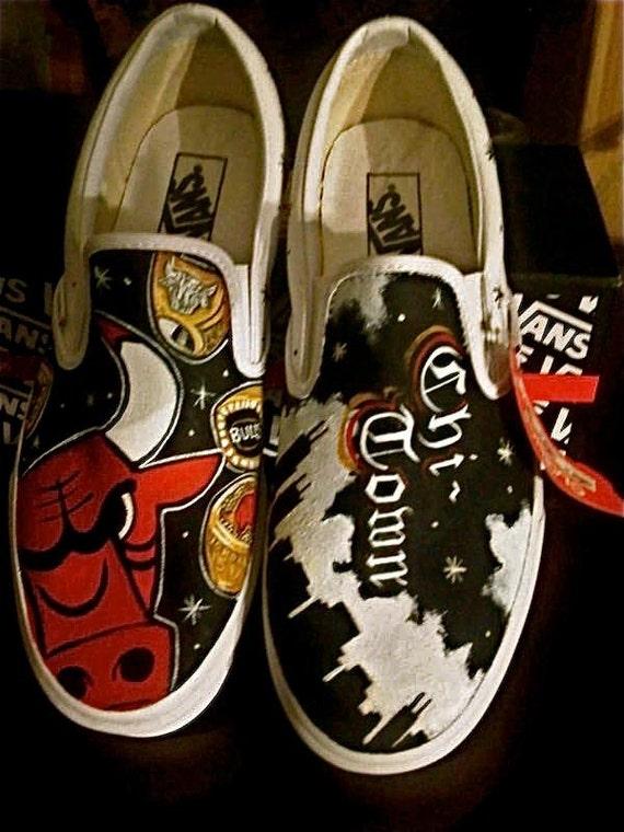 Custom women's or men's Slip on kicks Custom mens slip on Vans sneakers hand painted Chicago Bulls mens any size