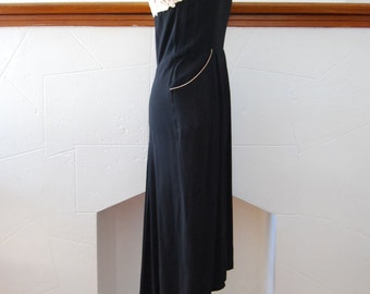 vintage 1940s / black rayon / gipure lace trim / bias skirt / pockets / mid century /