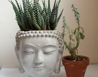 Buddha Head Planter #4 - cement plant pot, Concrete Design