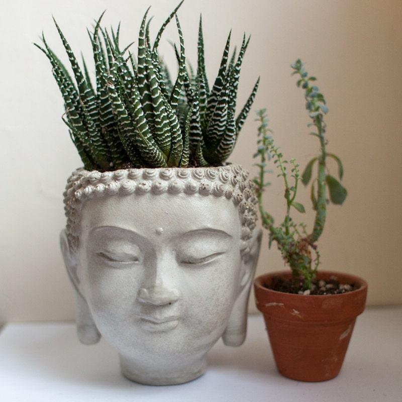 Buddha Head Planter 4 Cement Plant Pot Concrete By