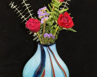 Baby Blue Oval Striped Hand Blown Glass Flower Vase Home Decoration