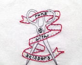Runs With Scissors Hand Embroidery Pattern PDF