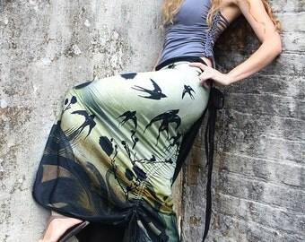 Boho Skirt, Beach Skirt, Black Skirt, Pattern Skirt, Low Waist Skirt, Two Sided Skirt, Sexy Skirt, Party Skirt, Painted Clothing, Long Skirt