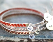 Beaded Skinny Leather Wrap Layering Bracelet with Stamped Sterling Silver Heart Charm