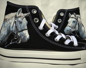 White Horse Hand Painted Converse Shoes