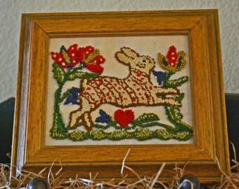 Primitive 'Tulip Hare' Punch Needle in vintage wood frame