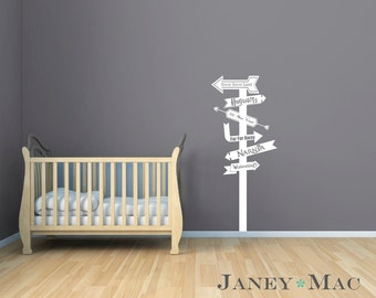 Fairy Tale Wall Decal Sign Post Modern Arrows Vinyl Sticker- Fantasy Land Wall Decor - Harry Potter Never Land Narnia Fairytale - CN124