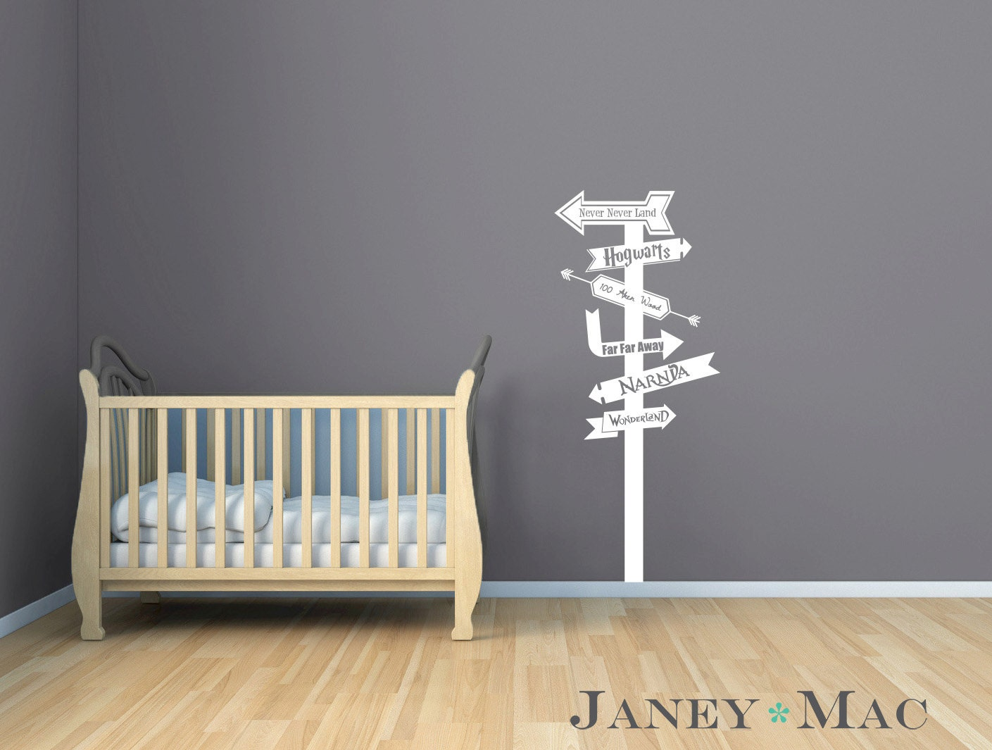 fairy tale wall decal sign post modern arrows vinyl sticker zoom
