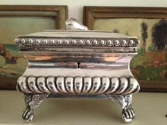 1880 Antique German Sugar Box or Etrog Box 800 Silver or Sterling